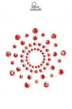 Bijoux de seins Mimi rouges : Bijoux de corps en strass rouges à poser en corole autour du mamelon pour un effet sexy garanti.