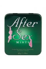 Bonbons pénis After Sex Mints : Bonbons à la menthe en forme de pénis dans une adorable boite verte en métal avec visuel en relief.