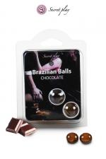 2 Brazilian Balls - chocolat : La chaleur du corps transforme la brazilian ball en liquide glissant au parfum chocolat, votre imagination s'en trouve exacerbée.