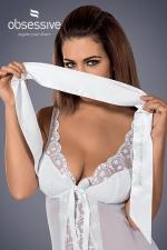 Bandeau satiné blanc : Bandez lui les yeux et excitez ses sens avec ce magnifique bandeau blanc satiné de marque Obsessive.