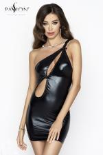 Robe Cornelia - Noir : Robe asymétrique en wetlook noir brillant, avec une fente sexy devant et une double bretelle sur l'épaule.