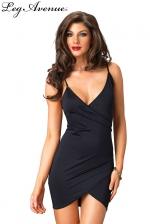 Robe Maria  : Petite robe noire dos nu à fines bretelles, croisée devant.
